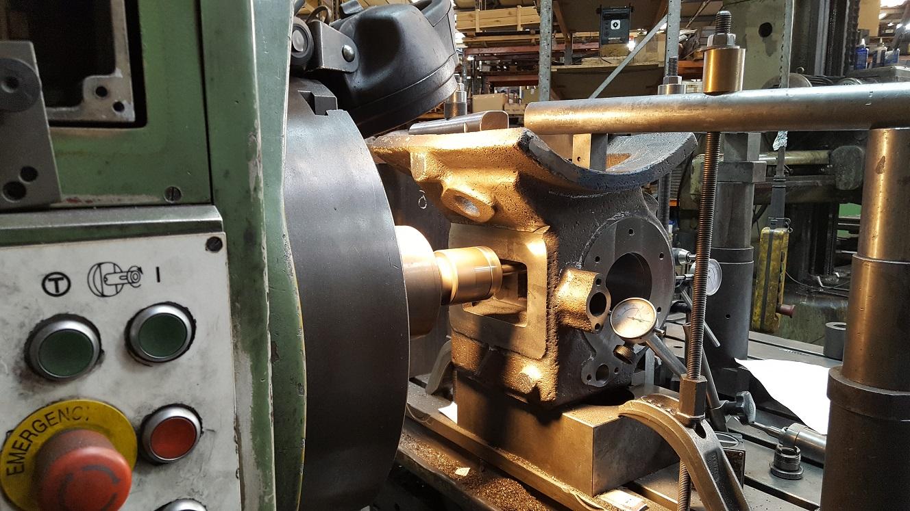 Boring Cast Steam Engine Component